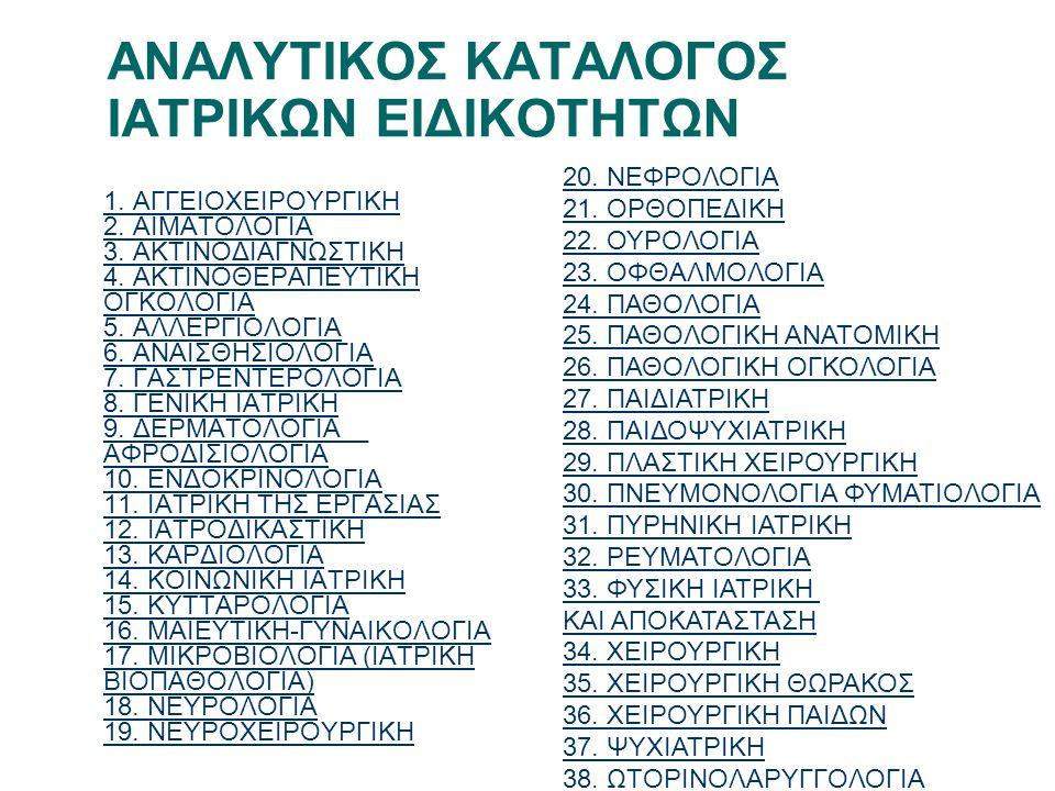 ΑΝΑΛΥΤΙΚΟΣ ΚΑΤΑΛΟΓΟΣ ΙΑΤΡΙΚΩΝ ΕΙΔΙΚΟΤΗΤΩΝ