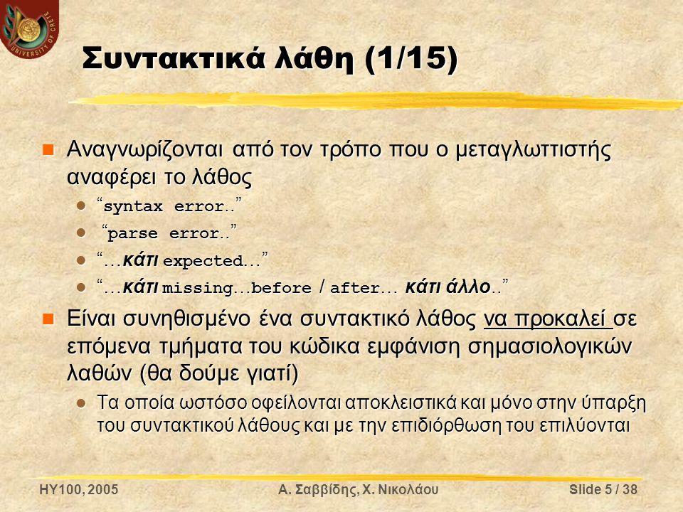 Συντακτικά λάθη (1/15) Αναγνωρίζονται από τον τρόπο που ο μεταγλωττιστής αναφέρει το λάθος. syntax error..