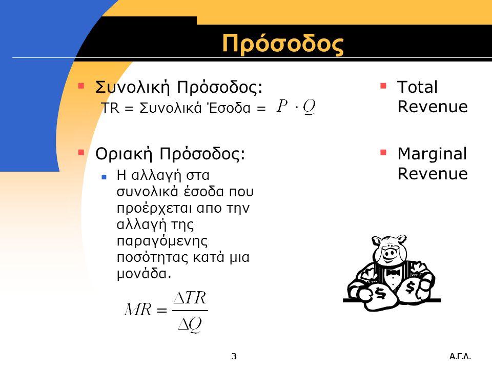 Πρόσοδος Συνολική Πρόσοδος: Οριακή Πρόσοδος: Total Revenue