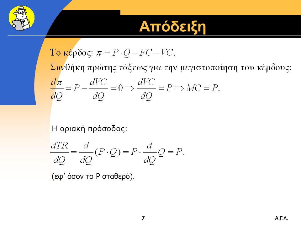 Απόδειξη Η οριακή πρόσοδος: (εφ' όσον το P σταθερό). Α.Γ.Λ.