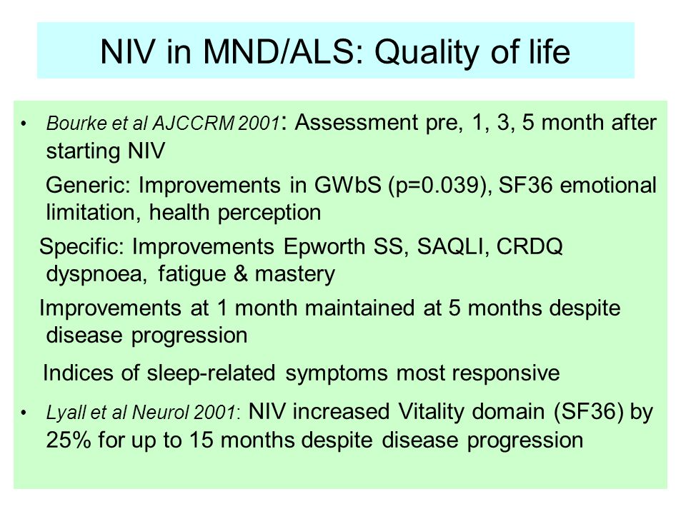 NIV in MND/ALS: Quality of life