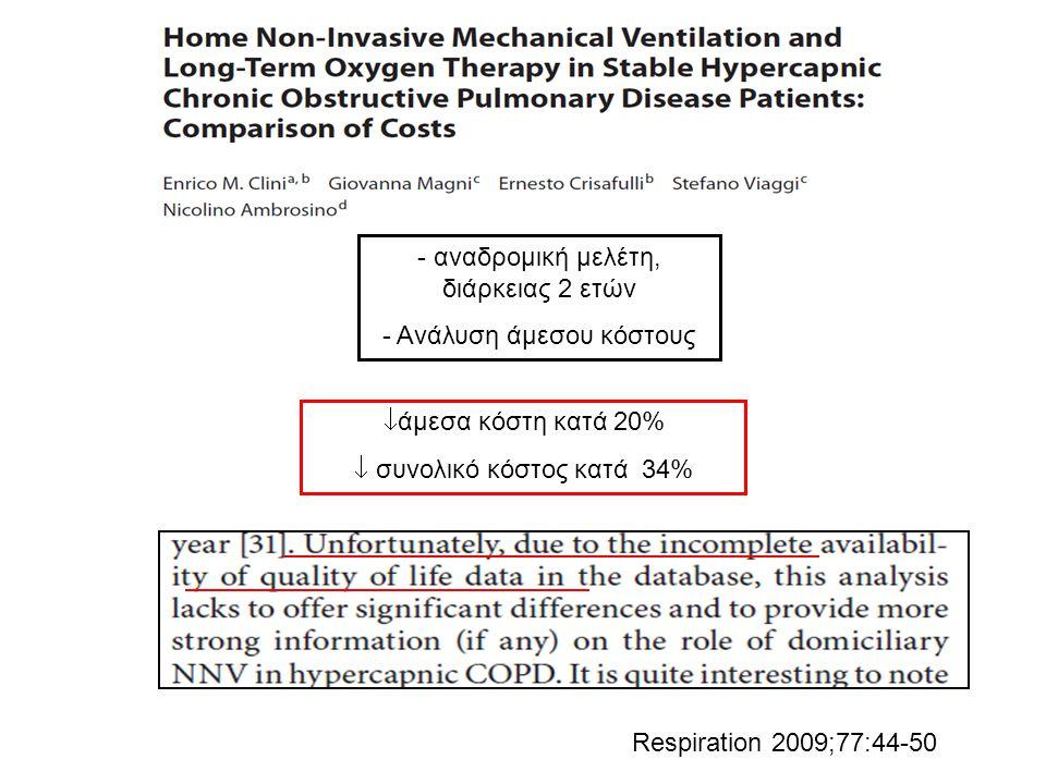 - αναδρομική μελέτη, διάρκειας 2 ετών - Ανάλυση άμεσου κόστους