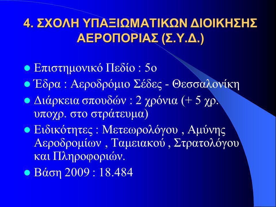 4. ΣΧΟΛΗ ΥΠΑΞΙΩΜΑΤΙΚΩΝ ΔΙΟΙΚΗΣΗΣ ΑΕΡΟΠΟΡΙΑΣ (Σ.Υ.Δ.)