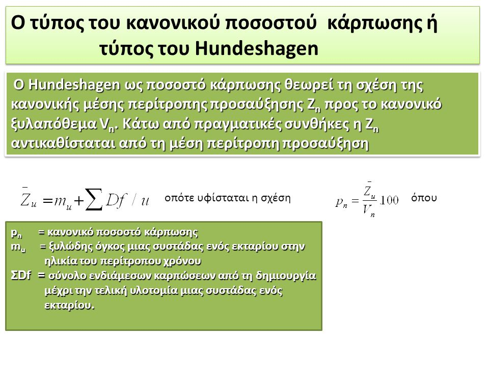Ο τύπος του κανονικού ποσοστού κάρπωσης ή τύπος του Hundeshagen