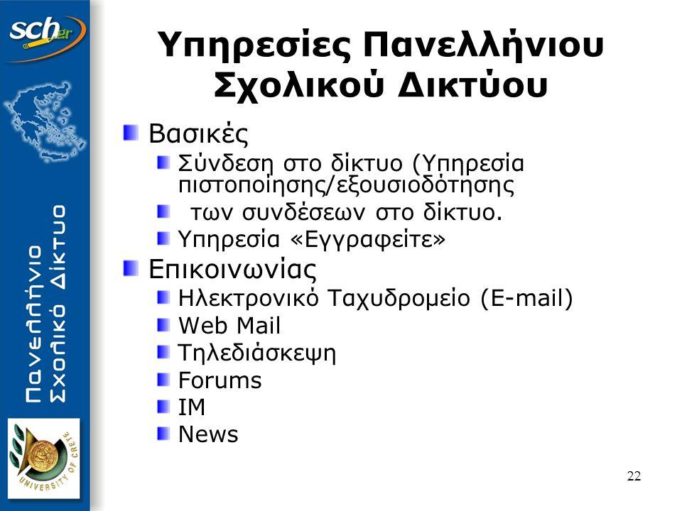 Υπηρεσίες Πανελλήνιου Σχολικού Δικτύου