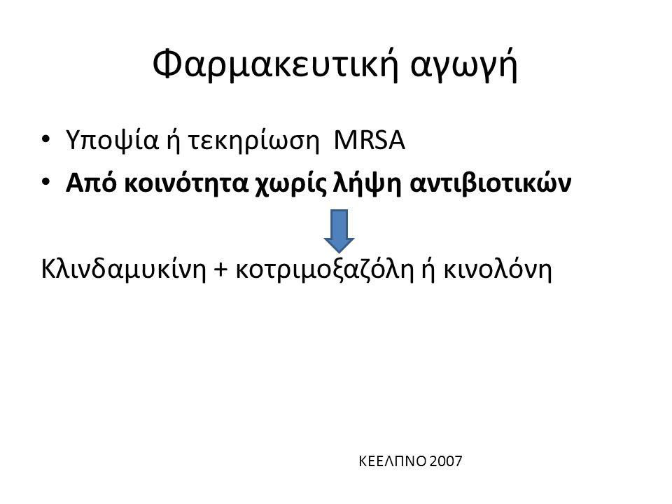 Φαρμακευτική αγωγή Υποψία ή τεκηρίωση MRSA