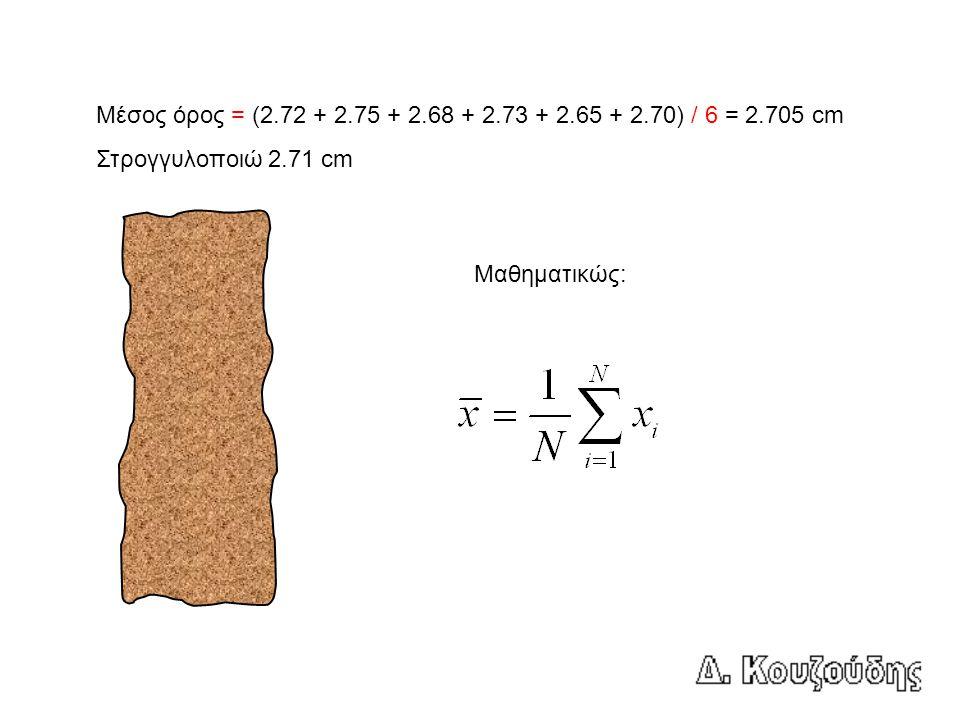 Μέσος όρος = (2.72 + 2.75 + 2.68 + 2.73 + 2.65 + 2.70) / 6 = 2.705 cm