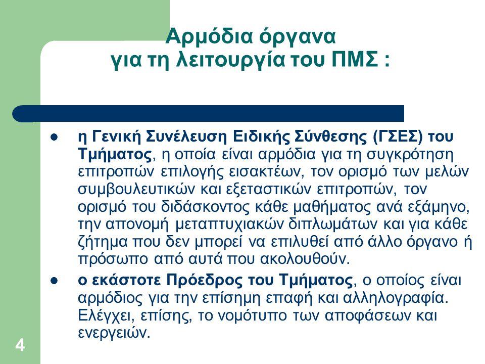 Αρμόδια όργανα για τη λειτουργία του ΠΜΣ :