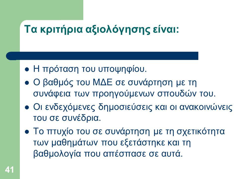 Τα κριτήρια αξιολόγησης είναι: