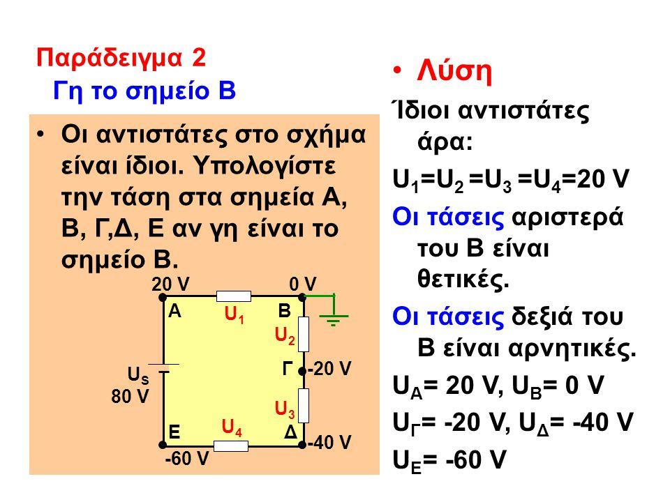Λύση Παράδειγμα 2 Ίδιοι αντιστάτες άρα: U1=U2 =U3 =U4=20 V
