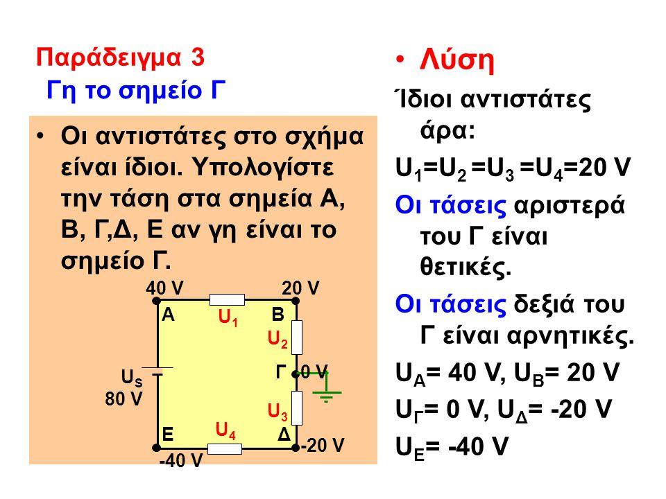 Λύση Παράδειγμα 3 Ίδιοι αντιστάτες άρα: Γη το σημείο Γ