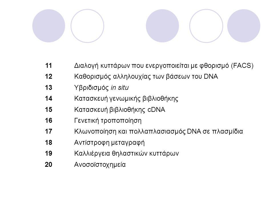 11 Διαλογή κυττάρων που ενεργοποιείται με φθορισμό (FACS) 12. Kαθορισμός αλληλουχίας των βάσεων του DNA.