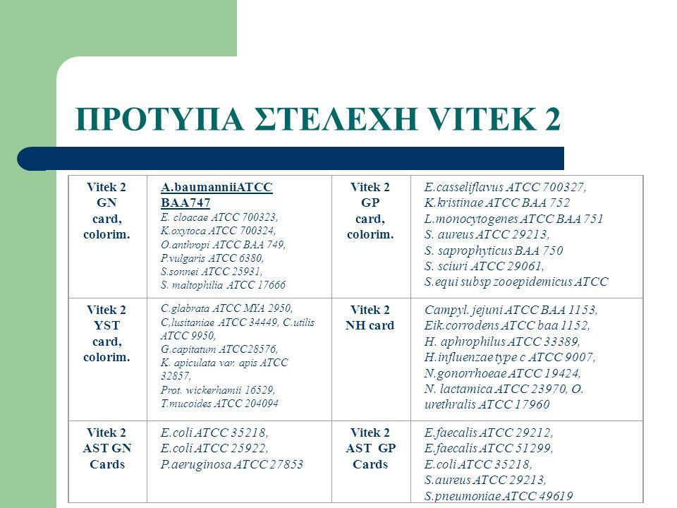 ΠΡΟΤΥΠΑ ΣΤΕΛΕΧΗ VITEK 2 Vitek 2 GN card, colorim.