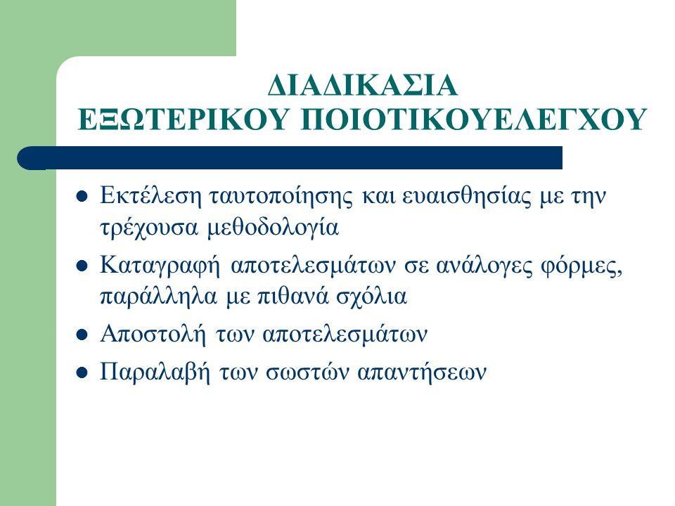 ΔΙΑΔΙΚΑΣΙΑ ΕΞΩΤΕΡΙΚΟΥ ΠΟΙΟΤΙΚΟΥΕΛΕΓΧΟΥ