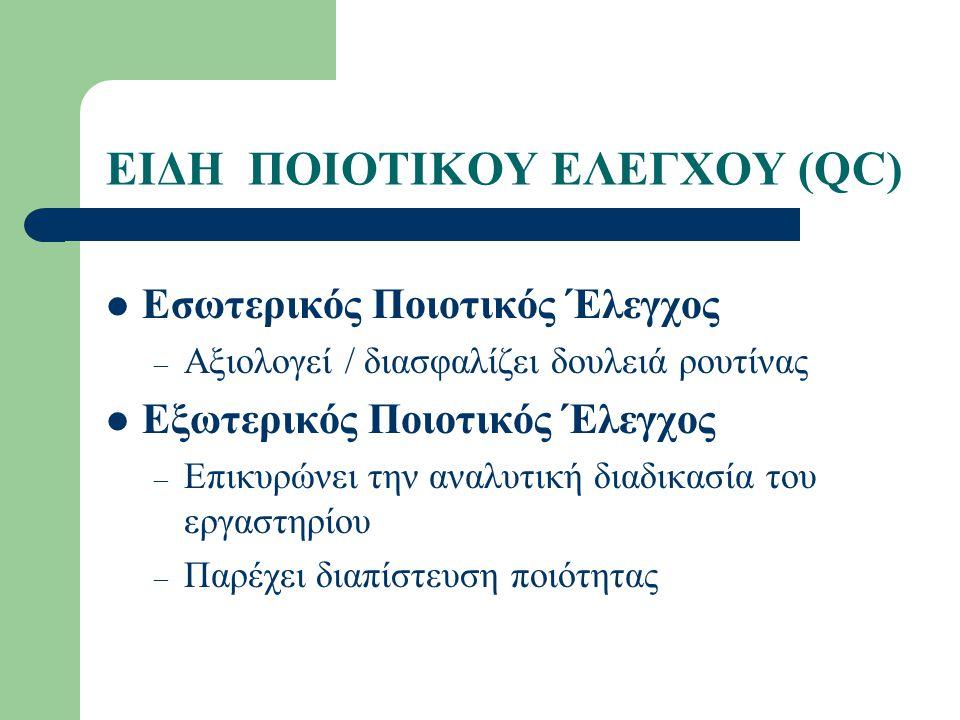 ΕΙΔΗ ΠΟΙΟΤΙΚΟΥ ΕΛΕΓΧΟΥ (QC)