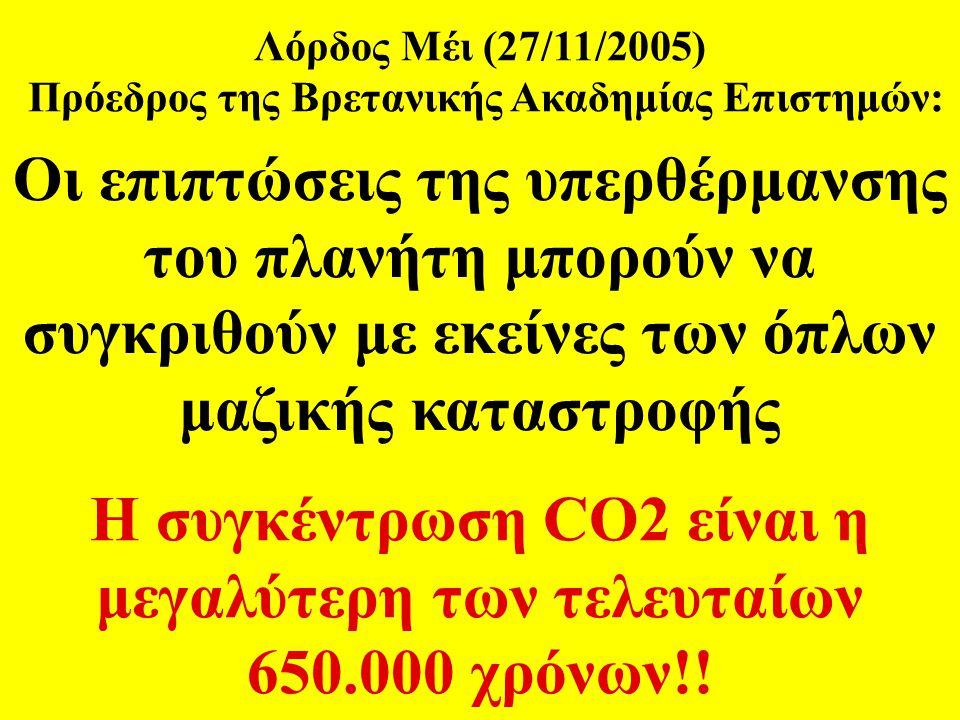 Η συγκέντρωση CO2 είναι η μεγαλύτερη των τελευταίων 650.000 χρόνων!!