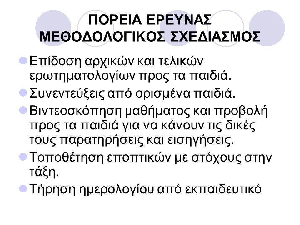 ΠΟΡΕΙΑ ΕΡΕΥΝΑΣ ΜΕΘΟΔΟΛΟΓΙΚΟΣ ΣΧΕΔΙΑΣΜΟΣ