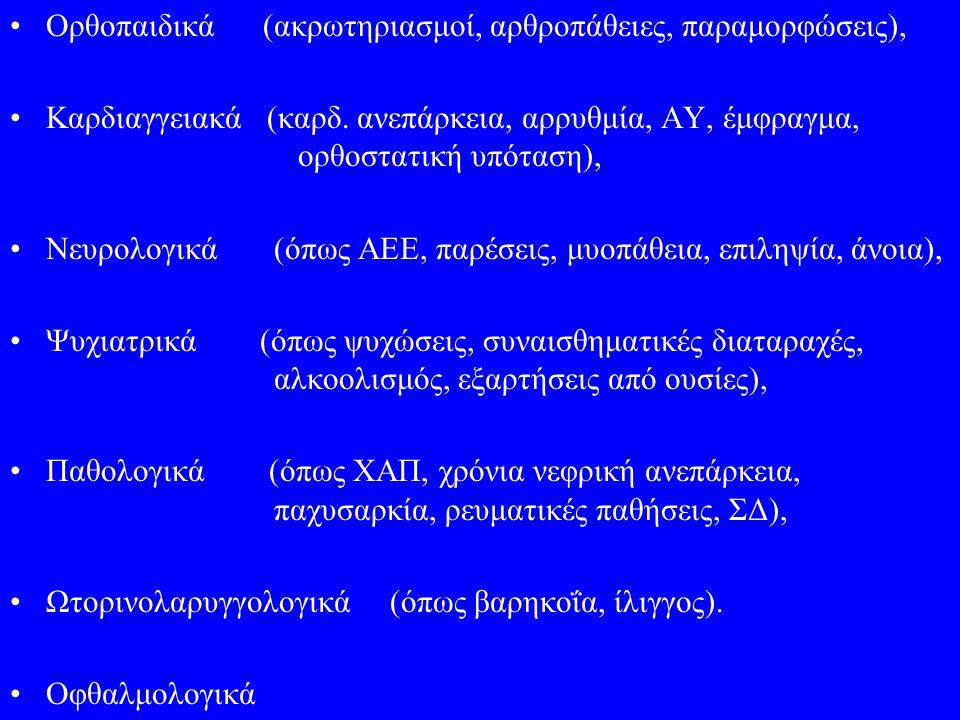 Ορθοπαιδικά (ακρωτηριασμοί, αρθροπάθειες, παραμορφώσεις),