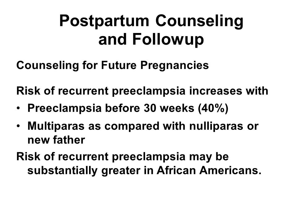 Postpartum Counseling and Followup