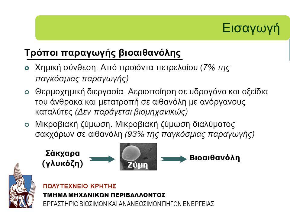Εισαγωγή Τρόποι παραγωγής βιοαιθανόλης