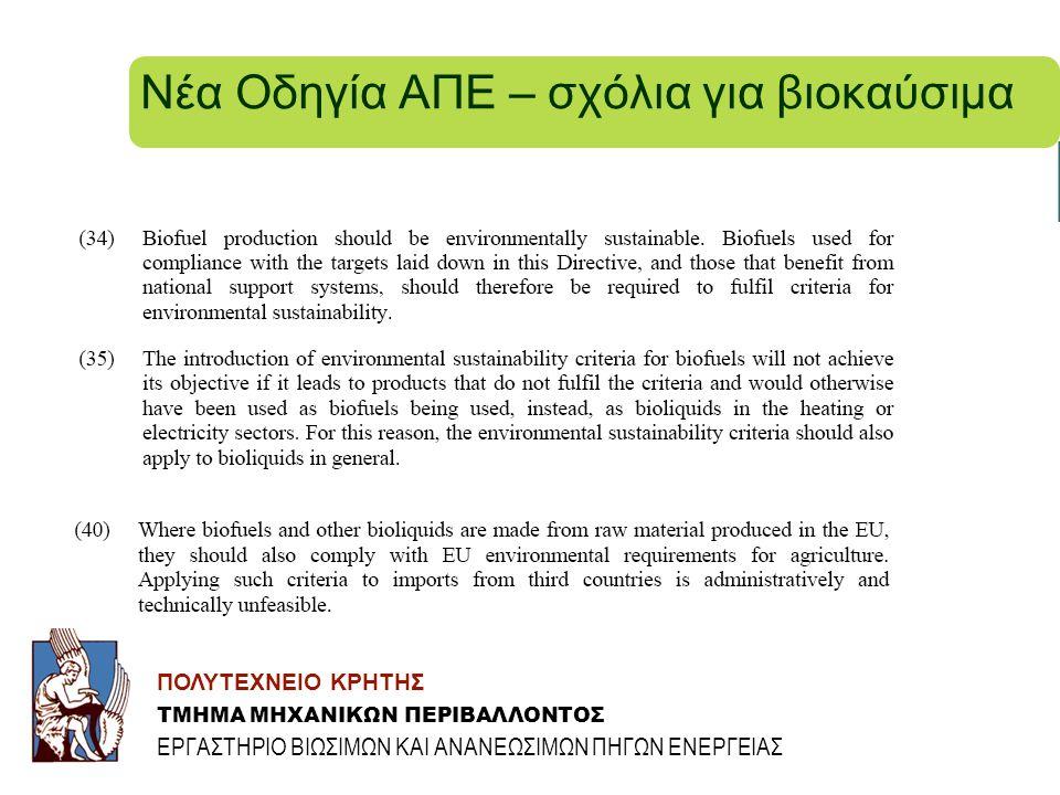 Νέα Οδηγία ΑΠΕ – σχόλια για βιοκαύσιμα