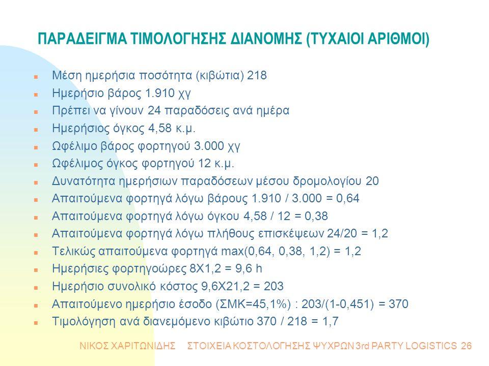 ΠΑΡΑΔΕΙΓΜΑ ΤΙΜΟΛΟΓΗΣΗΣ ΔΙΑΝΟΜΗΣ (ΤΥΧΑΙΟΙ ΑΡΙΘΜΟΙ)