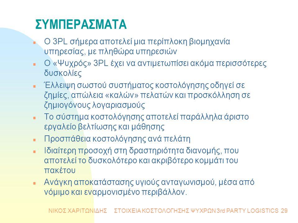 ΝΙΚΟΣ ΧΑΡΙΤΩΝΙΔΗΣ ΣΤΟΙΧΕΙΑ ΚΟΣΤΟΛΟΓΗΣΗΣ ΨΥΧΡΩΝ 3rd PARTY LOGISTICS