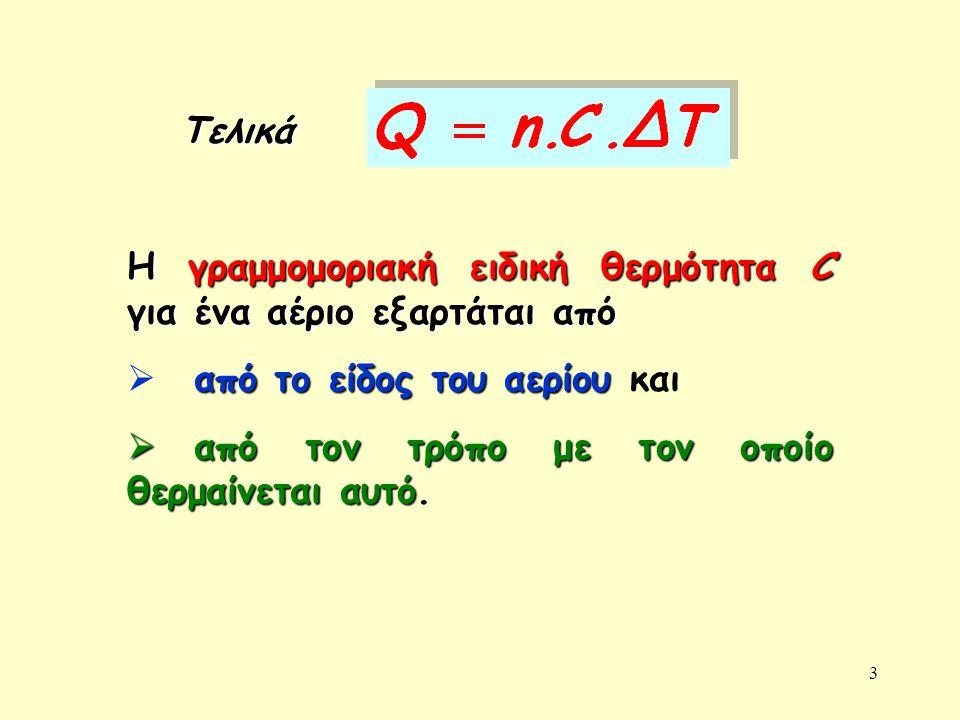 Τελικά Η γραμμομοριακή ειδική θερμότητα C για ένα αέριο εξαρτάται από. από το είδος του αερίου και.
