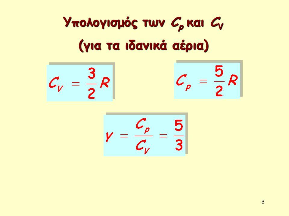 Υπολογισμός των Cp και CV