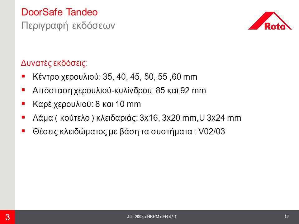 DoorSafe Tandeo Περιγραφή εκδόσεων Δυνατές εκδόσεις: