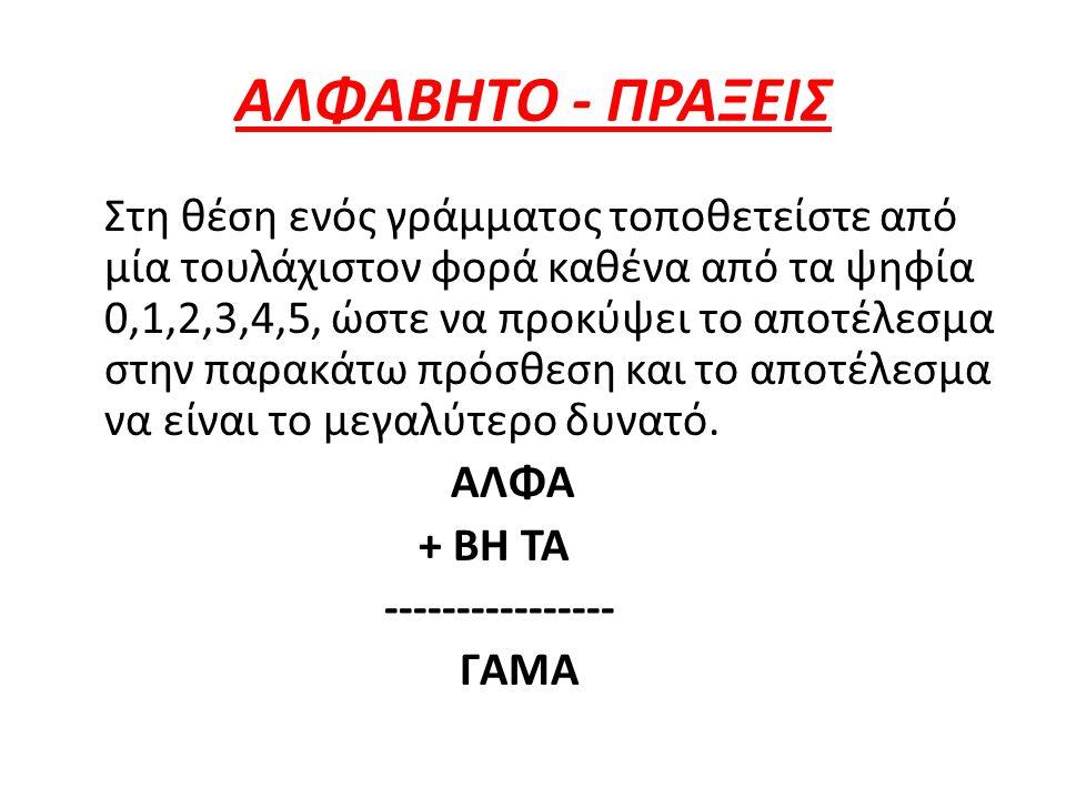 ΑΛΦΑΒΗΤΟ - ΠΡΑΞΕΙΣ