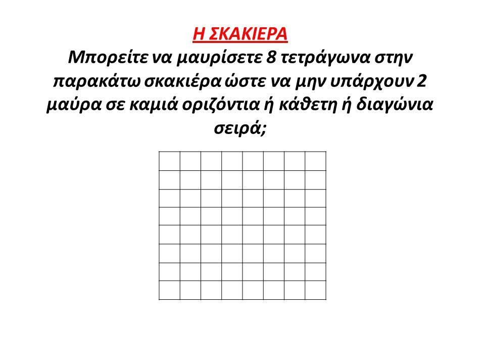 Η ΣΚΑΚΙΕΡΑ Μπορείτε να μαυρίσετε 8 τετράγωνα στην παρακάτω σκακιέρα ώστε να μην υπάρχουν 2 μαύρα σε καμιά οριζόντια ή κάθετη ή διαγώνια σειρά;