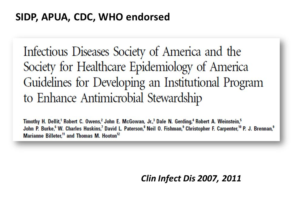 SIDP, APUA, CDC, WHO endorsed