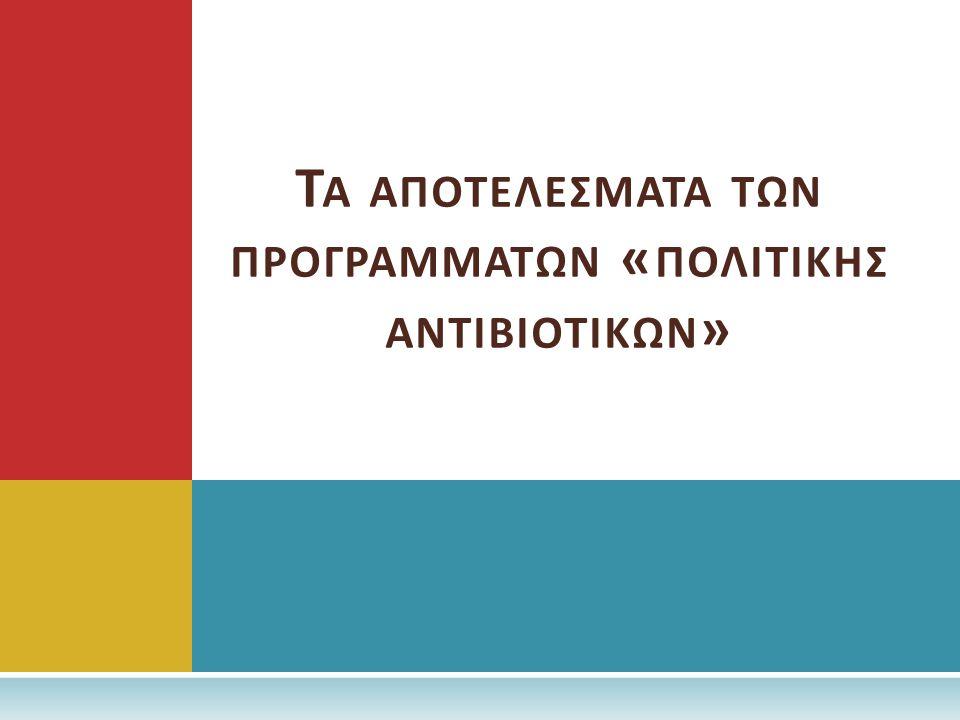 Τα αποτελεσματα των προγραμματων «πολιτικησ αντιβιοτικων»