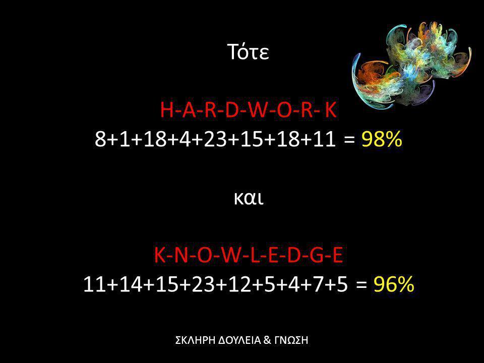 Τότε H-A-R-D-W-O-R- K 8+1+18+4+23+15+18+11 = 98% και K-N-O-W-L-E-D-G-E
