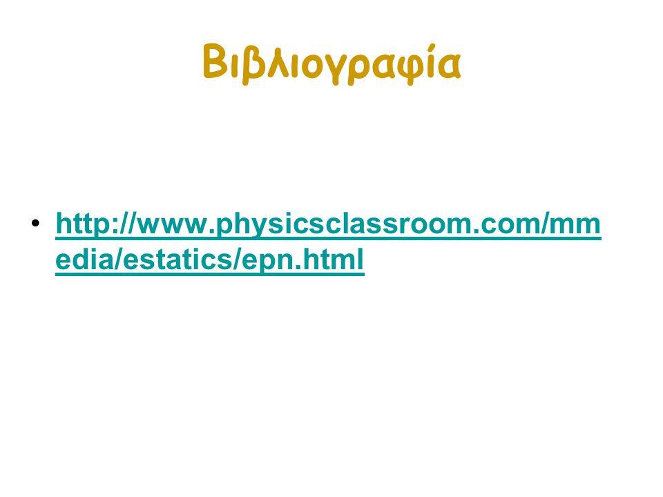 Βιβλιογραφία http://www.physicsclassroom.com/mmedia/estatics/epn.html