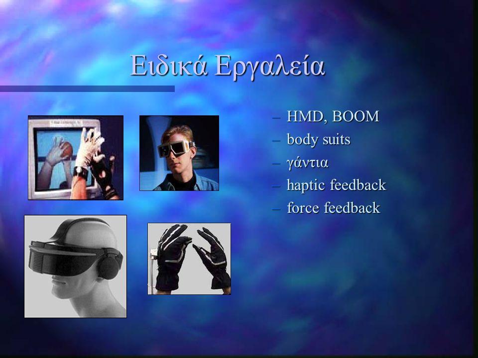 Ειδικά Εργαλεία HMD, BOOM body suits γάντια haptic feedback