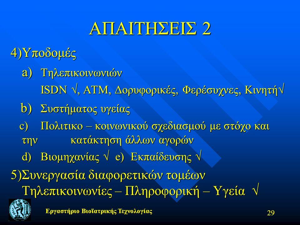 ΑΠΑΙΤΗΣΕΙΣ 2 4) Υποδομές a) Τηλεπικοινωνιών b) Συστήματος υγείας