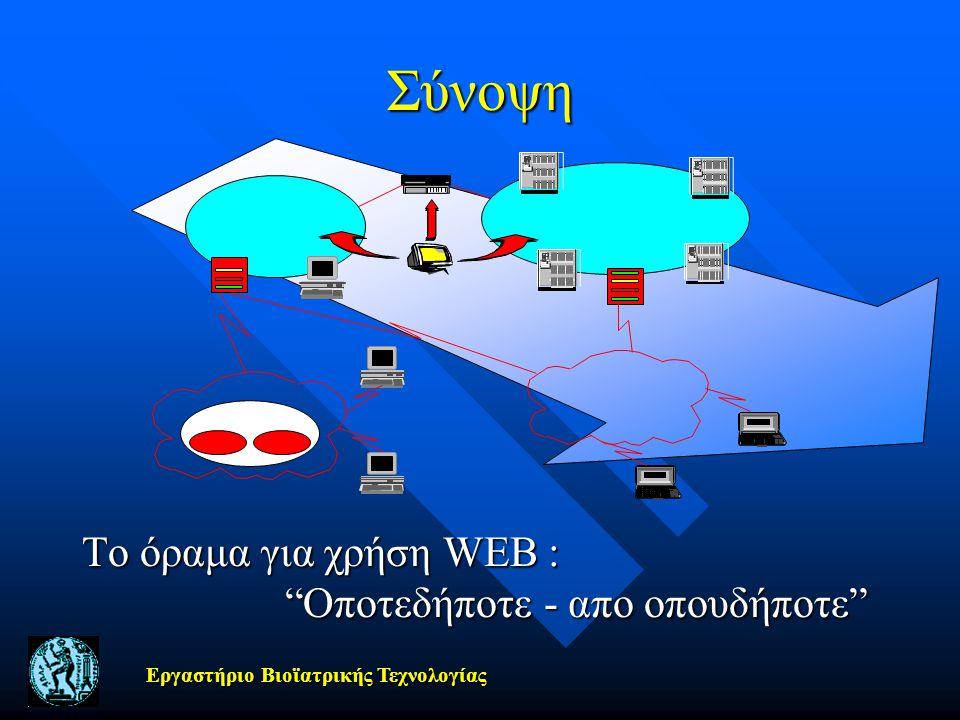 Σύνοψη Το όραμα για χρήση WEB : Οποτεδήποτε - απο οπουδήποτε