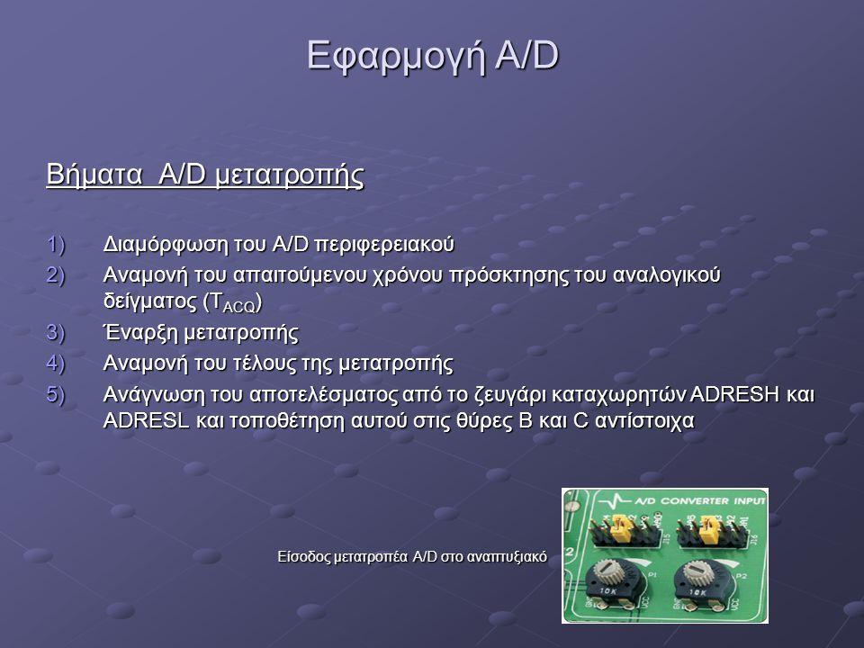 Εφαρμογή A/D Βήματα A/D μετατροπής