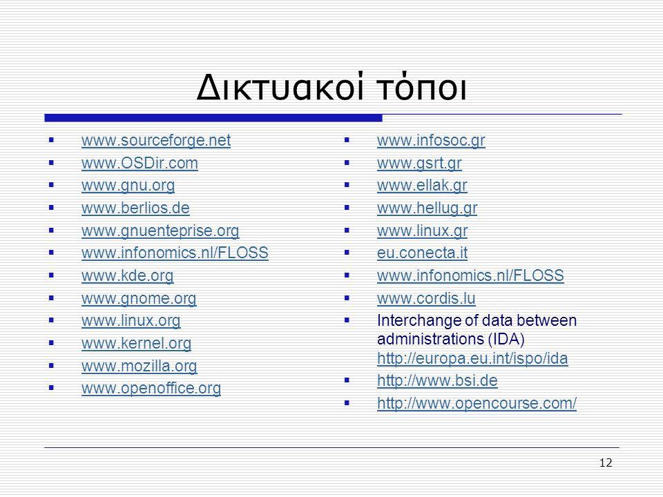 Δικτυακοί τόποι www.sourceforge.net www.OSDir.com www.gnu.org