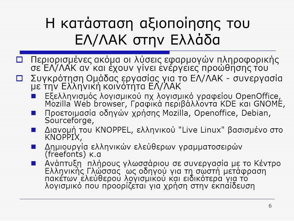 Η κατάσταση αξιοποίησης του ΕΛ/ΛΑΚ στην Ελλάδα