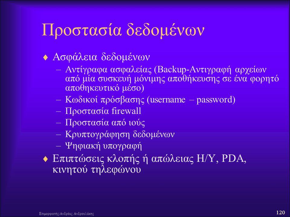 Προστασία δεδομένων Ασφάλεια δεδομένων