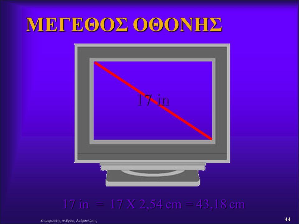 ΜΕΓΕΘΟΣ ΟΘΟΝΗΣ 17 in 17 in = 17 X 2,54 cm = 43,18 cm