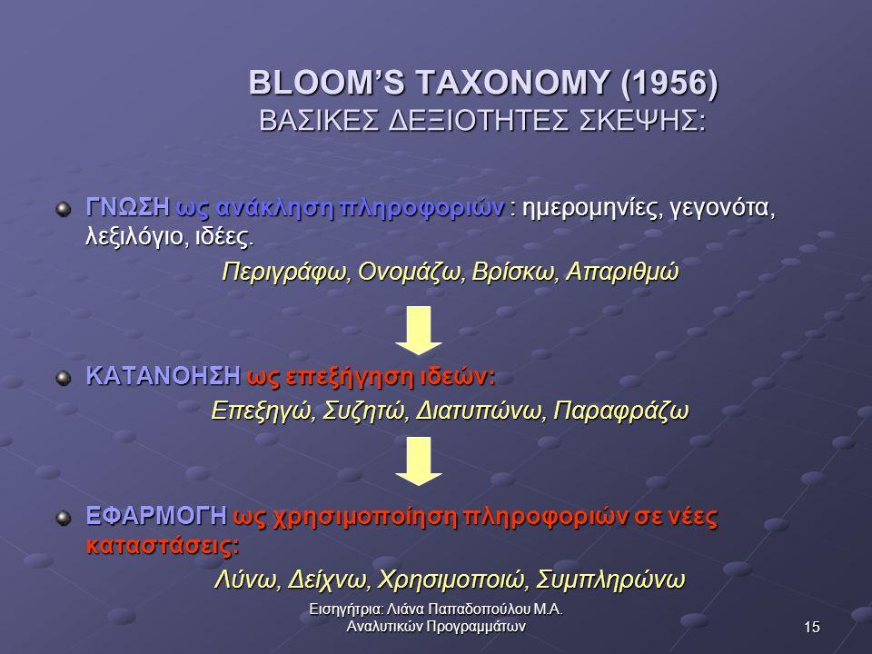 BLOOM'S TAXONOMY (1956) ΒΑΣΙΚΕΣ ΔΕΞΙΟΤΗΤΕΣ ΣΚΕΨΗΣ: