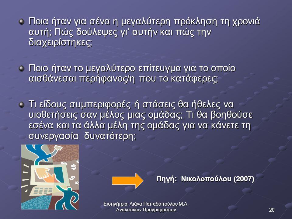 Εισηγήτρια: Λιάνα Παπαδοπούλου Μ.Α. Αναλυτικών Προγραμμάτων