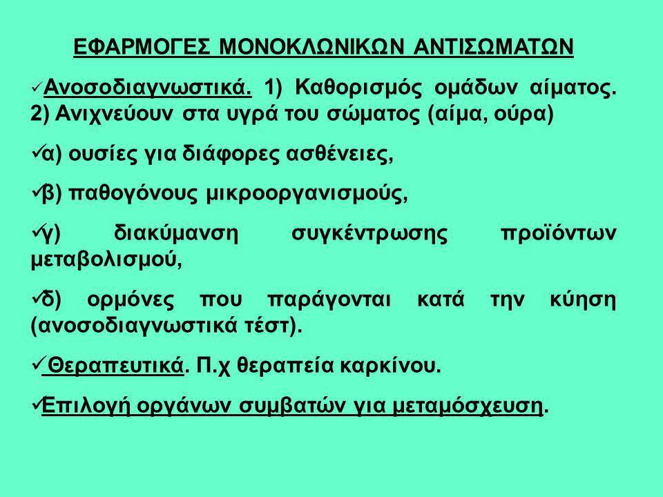 ΕΦΑΡΜΟΓΕΣ ΜΟΝΟΚΛΩΝΙΚΩΝ ΑΝΤΙΣΩΜΑΤΩΝ