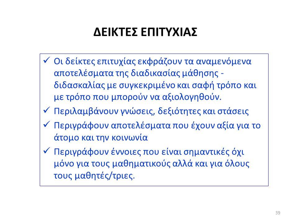 ΔΕΙΚΤΕΣ ΕΠΙΤΥΧΙΑΣ