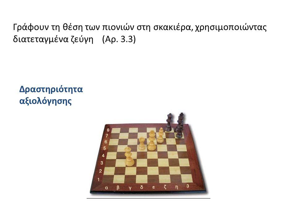 Γράφουν τη θέση των πιονιών στη σκακιέρα, χρησιμοποιώντας