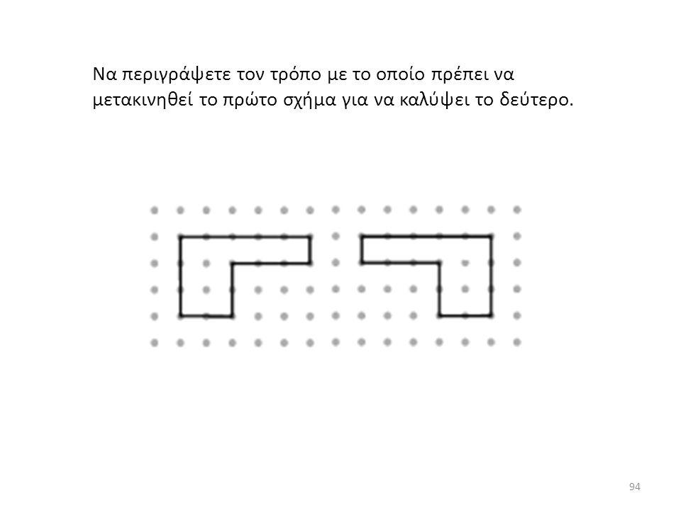 Να περιγράψετε τον τρόπο με το οποίο πρέπει να μετακινηθεί το πρώτο σχήμα για να καλύψει το δεύτερο.